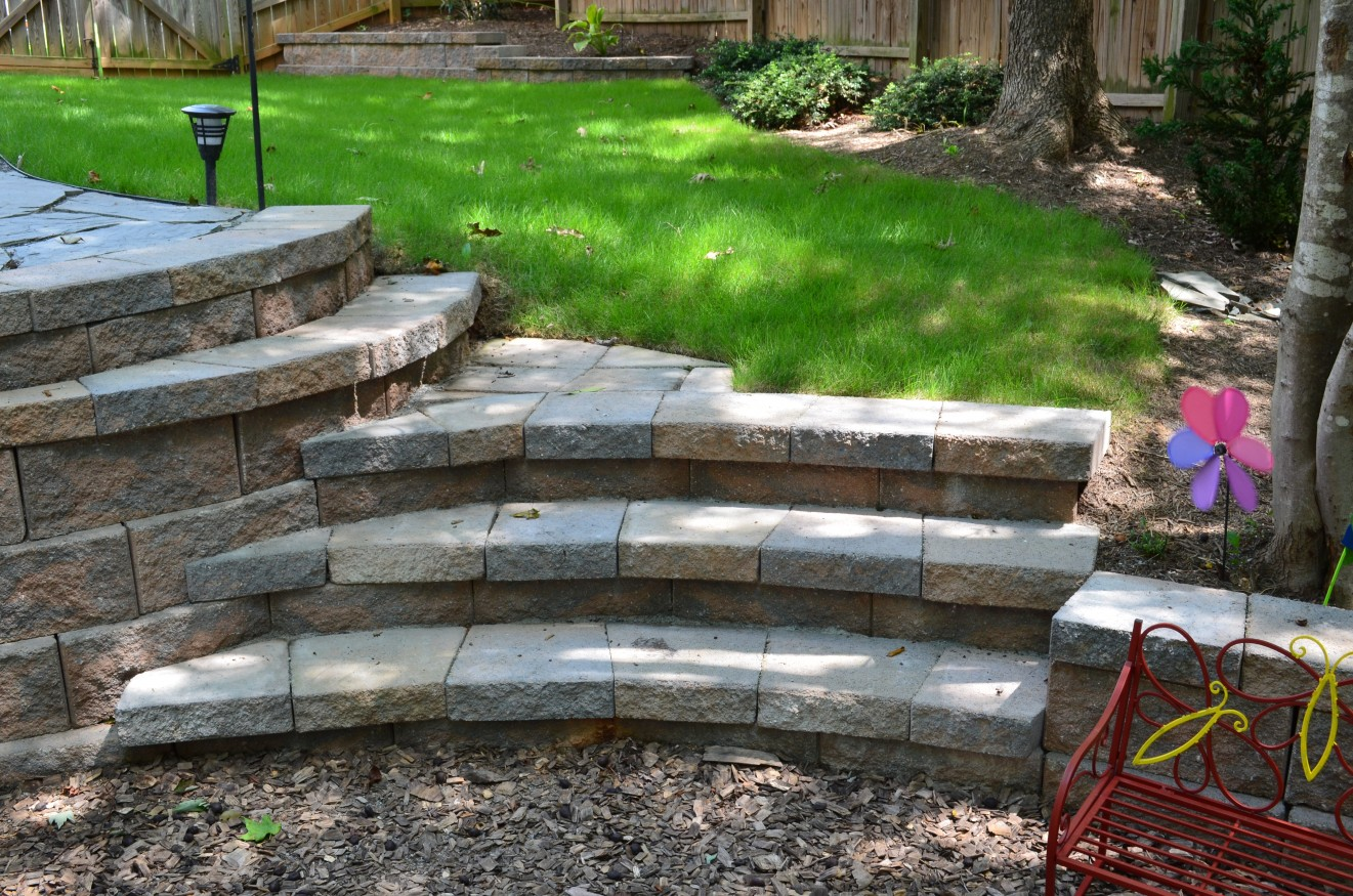 We Can Make Steps Out Of The Retaining Wall Block, But They Can Be Steep  Sometimes.